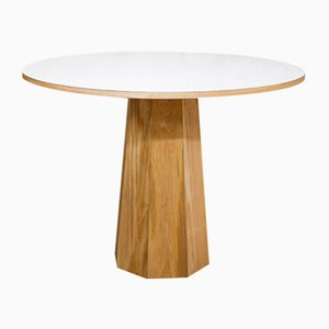 Solid Ash & White Laminate Round Table with Octagonal Base by ILYT for ILYT