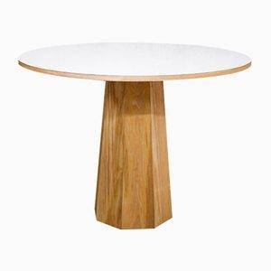 Tavolo rotondo in frassino massiccio e laminato bianco con base ottagonale di ILYT per ILYT