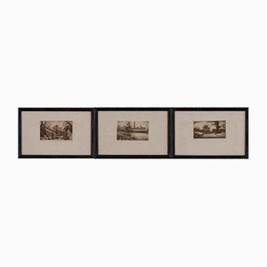 Triptych of Etchings by Eugène Viala, Set of 3