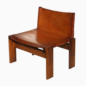 Monk Leather Side Chair by Tobia Scarpa by Molteni, 1970s