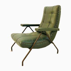 Poltrona vintage moderna verde, anni '70