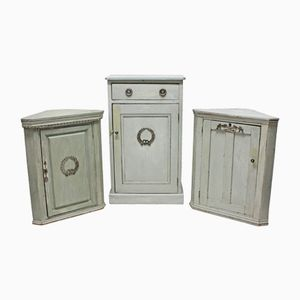 Antique Swedish Painted Cupboards, Set of 3