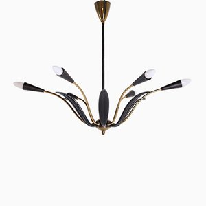 Italian Brass Chandelier with Black Arms, 1960s
