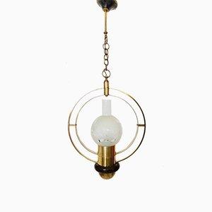 Lampadario in ottone, legno e vetro, anni '50