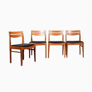Mid-Century Teak & Leatherette Chairs, Set of 4