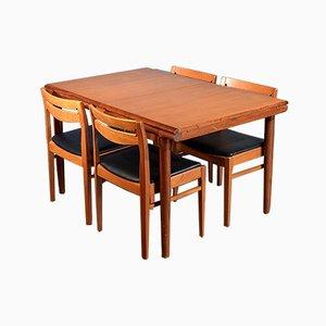 Ausziehbarer dänischer Mid-Century Tisch & Stühle aus Teak