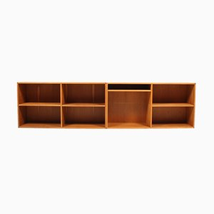 Wall Mounted Oak Bookcases, 1960s, Set of 2