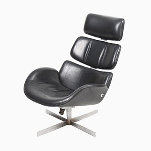 Vintage Danish Leather Swivel Chair, 1960s