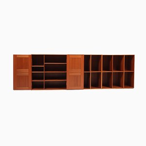 Wall Mounted Cabinet & 2 Bookcases by Mogens Koch for Rud. Rasmussen, 1950s, Set of 3