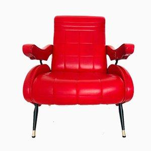 Poltrona reclinabile rossa, anni '70