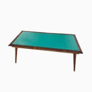 Tavolo vintage in legno con ripiano in vetro verde, anni '50
