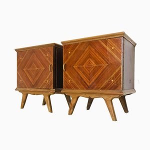 Wood & Glass Nightstands, 1970s, Set of 2