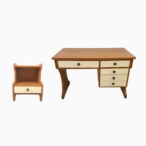 Bureau et Table de Chevet Vintage, 1970s