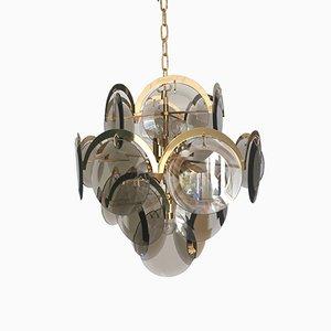 Lámpara de araña italiana Mid-Century con discos de cristal de Murano de Gino Vistosi, años 60