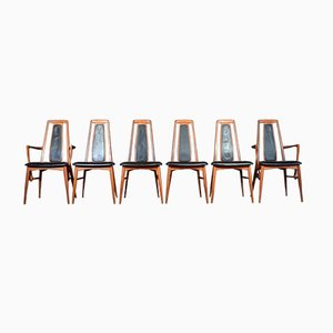 Mid-Century Afromosia Eva Chairs by Neils Koefoed, Set of 6