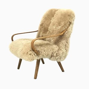 Vintage Bentwood & Sheepskin Armchair from TON, 1960s