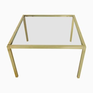 Square Glass and Brass Coffee Table, 1970s