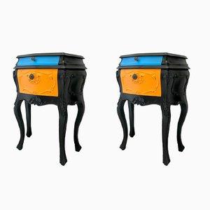 Tables de Chevet Vintage en Bois, Set de 2