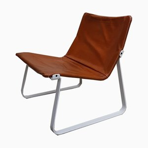 Mid-Century Danish Steel & Leather Sling Chair, 1970s