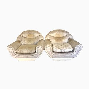 Mid-Century Fabric Lounge Chairs, Set of 2