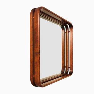 Specchio da parete rotondo in legno, anni '70