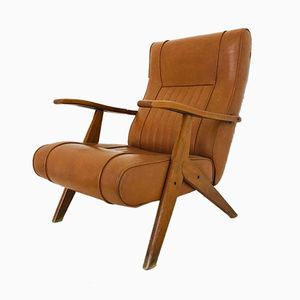 Vintage Skai & Leather Armchair, 1970s