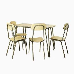 Tavolo da cucina vintage con quattro sedie, anni '50