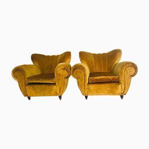 Mid-Century Ocher Velvet Armchairs, 1950s, Set of 2