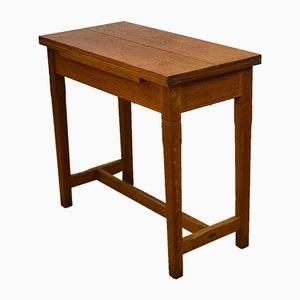 Vintage Oak Extending Chapel Side Table, 1930s