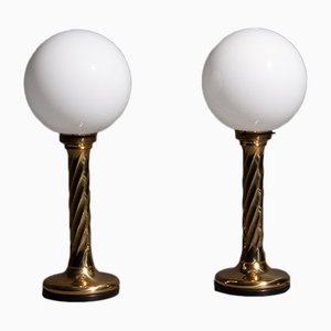 Golden Spherical Hollywood Regency Lamps, 1960s, Set of 2