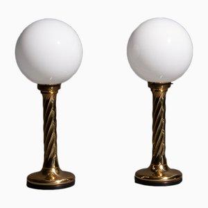 Lámparas Hollywood Regency esféricas doradas, años 60. Juego de 2