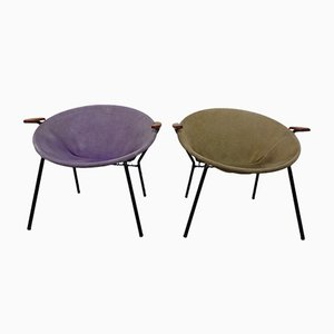 Danish Suede Balloon Chairs by Hans Olsen for LEA Furniture, 1950s, Set of 2