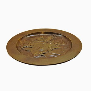 Art Deco Patinated Bronze Plate from G.A.B., 1930s