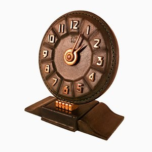 Horloge Art Déco en Cuir, 1930s