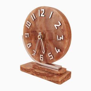 Asymmetrische Art Deco Uhr aus Onyx, 1930er