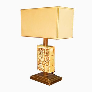 Large Ceramic & Patinated Brass Table Lamp, 1970s