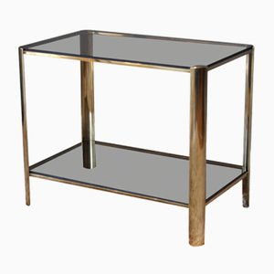 Table d'Appoint en Bronze et Verre Teinté par Jacques Quinet pour Broncz, 1960s