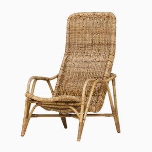 Vintage Dutch Rattan Easy Chair, 1960s