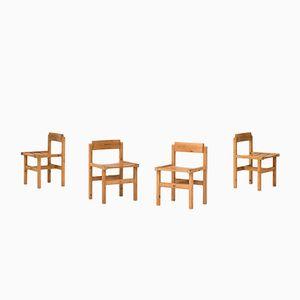Esszimmerstühle mit Gestell aus Pinienholz von Edvin Helseth für Stange Bruk, 1960er, 4er Set