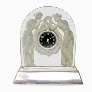 Orologio vintage con due statuette di Rene Lalique, 1926