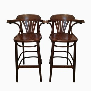 Vintage Wooden Bistro Chairs, 1970s, Set of 2