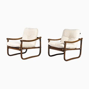 Vintage Bamboo Lounge Chairs, 1970s, Set of 2