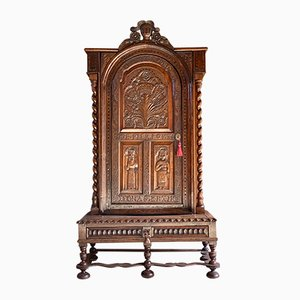 Victorian Carved Oak Bookcase Cabinet, 1850s
