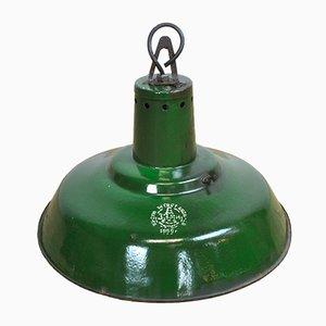 Smaragdgrüne industrielle ungarische Hängelampe, 1950er
