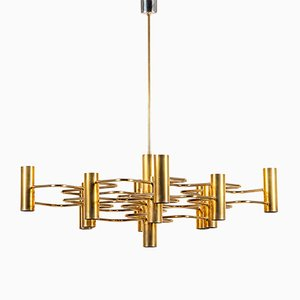 Large Vintage Brass & Steel Chandelier by Gaetano Sciolari for Boulanger, 1970s