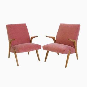 Rosafarbene skandinavische Armlehnstühle aus Samt mit Holzrahmen, 1950er, 2er Set
