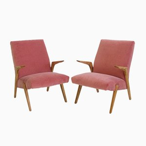 Scandinavian Pink Velvet Armchairs with Wooden Frame, 1950s, Set of 2