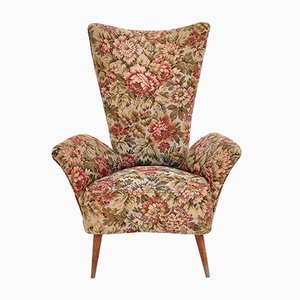 Mid-Century Italian Floral Fabric Children's Lounge Chair, 1950s
