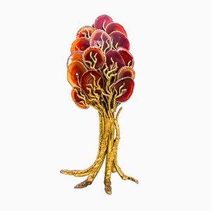 Lampada da tavolo scultorea in ottone e agata, anni '70