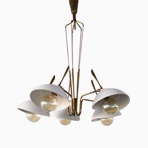 Deckenlampe aus Messing & bemaltem Aluminium von Lumen, 1950er